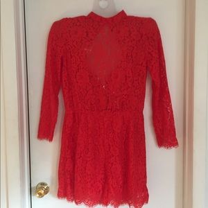H&M romper red lace xl zip back holiday